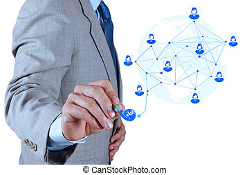 begriff, service, arbeitende , weisen, modern, edv, geschäftsmann, neu , struktur, vernetzung