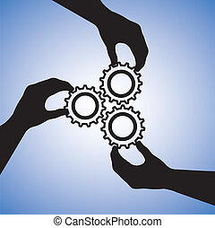 begriff, success., erfolg, leute, zusammenarbeit, mannschaft, zusammenarbeiten, abbildung, schließt, silhouetten, grafik, gemeinschaftsarbeit, zusammen, halten hände, hand, zahnräder, zeigen, beitritt
