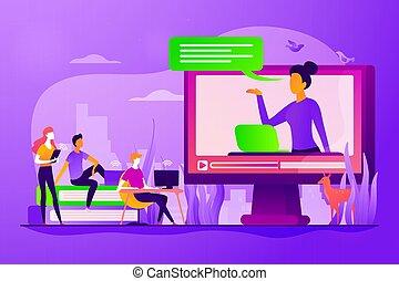 begriff, unterricht, vektor, abbildung, online