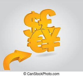 begriff, währungen, finanziell, major