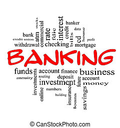 begriff, wort, &, bankwesen, schwarz rot, wolke