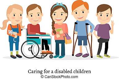 Behinderte oder behinderte Kinder mit Freunden