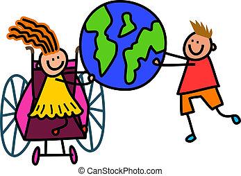 Behinderte Weltkinder.