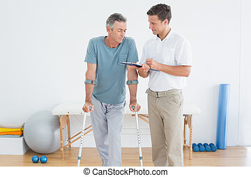 behinderten, besprechen, therapeut, patient, berichte