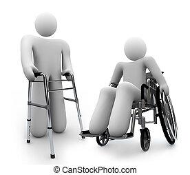 Behinderungen - behinderte Person im Rollstuhl und ein zweiter Walker