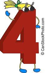 belebt, lustiges, 3d, rotes , 4, zahl