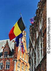 Belgien, Europa und Brügge Flaggen.