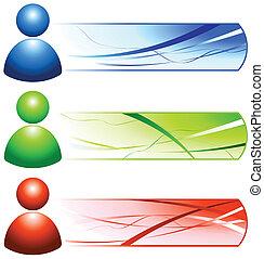 Benutze Internet-Ikonen mit Bannern