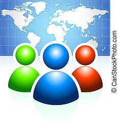 Benutzergruppe mit Weltkarte Hintergrund
