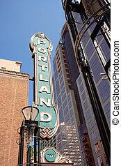 Berühmtes Downtown-Portland-Erzgon-Zeichen