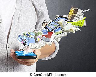 berührungsbildschirm, telefon, beweglich