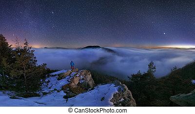 berg, nacht, landschaftsbild, panorama
