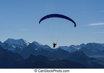 berge, aus, paragliding