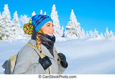 berge, entlang, reisen, verschneiter