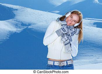berge, frau, glücklich, verschneiter