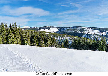 berge, landschaftsbild, winter, hintergrund