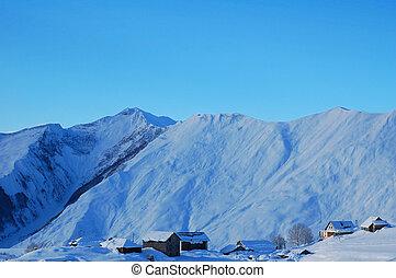 berge, winterlandschaft, häusser