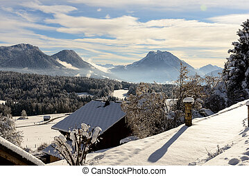 berge, winterlandschaft