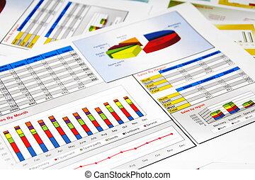 bericht, schaubilder, statistik, kurve graphischer darstellung