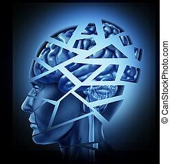 Beschädigtes menschliches Gehirn.
