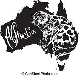 beschmutztes cuscus, symbol, australische