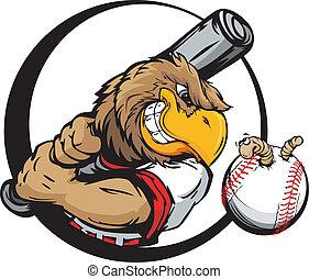 besitz, früh, baseball, vogel, spieler