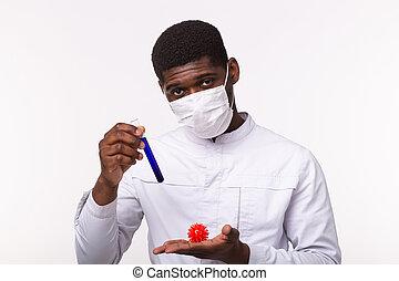besitz, modell, oder, hand., menschliche , coronavirus, medizin, concept., laborant, doktor, covid-19., impfstoff, rohr, entwicklung