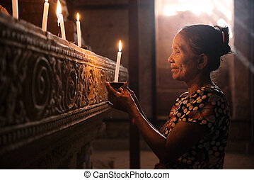 beten, licht, frau, asiatisch, kerze