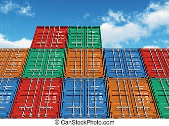 Betonte farbige Container über dem blauen Himmel
