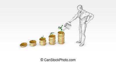 bewässerung, finanziell, baum