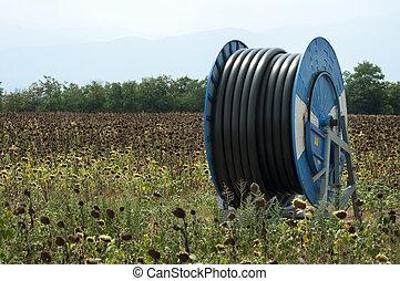 bewässerung, saugschlauch, land