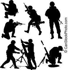 Bewaffnete Soldatensilhouette