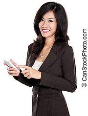 beweglich, gebrauchend, frauenunternehmen, telefon