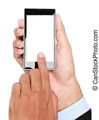 beweglich, schirm, hand, telefon, besitz, leer, geschäftsmann, klug