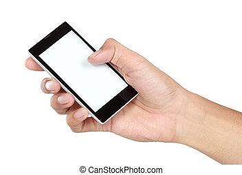beweglich, schirm, hand, telefon, besitz, leer, klug