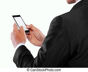 beweglich, schirm, telefon, besitz, leer, geschäftsmann, klug