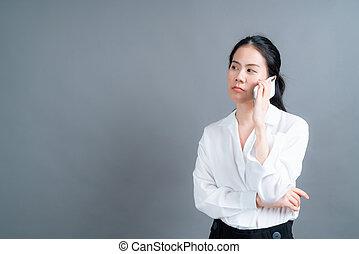 beweglich, sprechende , gebrauchend, rufen frau, asiatisches geschäft