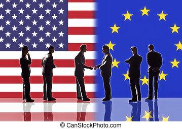 Beziehungen zwischen den USA und Europa.