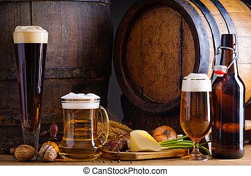 Bier und traditionelles Essen