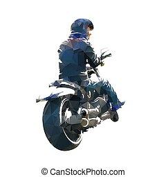 Biker sitzt auf dem Motorrad. Geringe geometrische Vektorgrafik. Rückblick