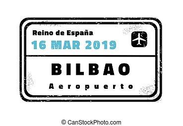bilbao, briefmarke, reisepaß