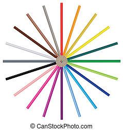 bild, farbe, bleistifte, -, vektor