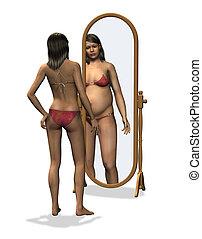 bild, koerper, -, anorexie, verzerrt
