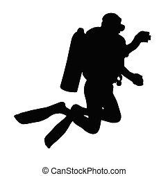 bild, silhouette, nehmen, scuba, wasser, unter, sport, taucher, ?