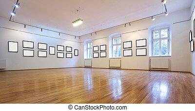 bilder, kunstgalerie, leer