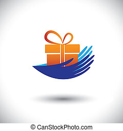 Bildvektorgrafik-Frauenhände mit Geschenk-Icon(symbol)