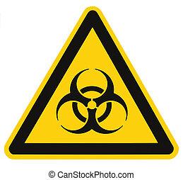 Biohazard Symbol Zeichen der biologischen Bedrohung Alarm isoliert schwarzes gelbes Dreieck Schildmakro.