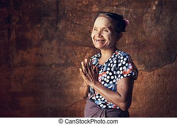 birmanisch, beten, frau
