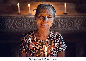 birmanisch, frau, altes