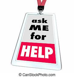 Bitten Sie mich um Hilfe beim Kundenservice Personalausweis 3d Illustration.